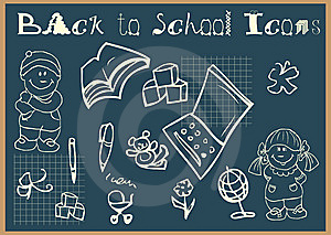 Back To School Icons Set Doodley Royalty Free Stock Photography - Image: 14350567