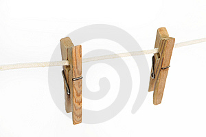 Wooden Clothes Pegs Stock Images - Image: 14354374