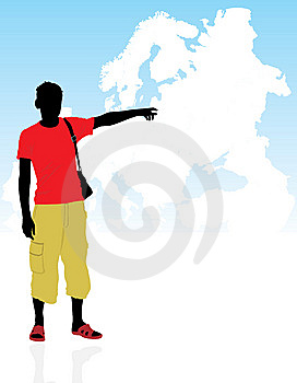 Masculine Silhouette On A Background The Map Stock Image - Image: 14356431