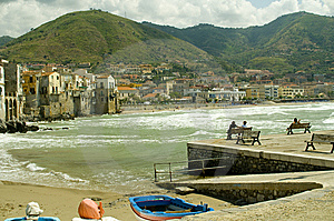 Cefalu Beach In The Summer Stock Photo - Image: 14357070