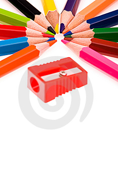 Multicolor Pencils And Red Sharpener Stock Images - Image: 14357304