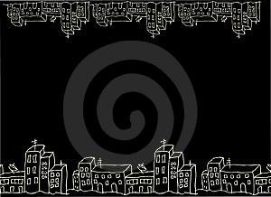 Black Background House Border And Street Stock Photos - Image: 14359683