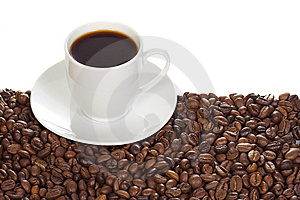 Cup With Coffee And Beans Stock Photos - Image: 14363163