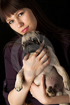 Girl And Pug Stock Image - Image: 14366441