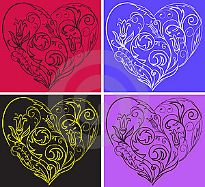 Set Filigree Hearts Stock Photos - Image: 14366543