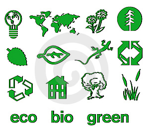 Set Of Green Eco & Bio Icons, Stickers And Tags Stock Photo - Image: 14367480