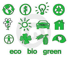 Set Of Green Eco & Bio Icons, Stickers And Tags Royalty Free Stock Photography - Image: 14367507