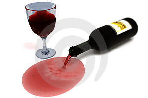 Overturned Bottle Of Wine From Which Flows Stock Photo - Image: 14367780