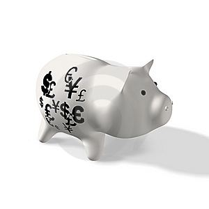 Currency On Piggy Royalty Free Stock Photo - Image: 14369055