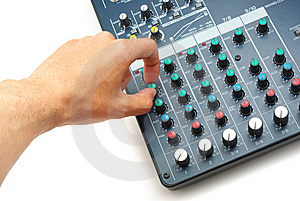 Hand And Mixing Console Stock Photos - Image: 14370183