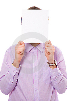 Young Adult Holds Copyspace Card Stock Image - Image: 14375771