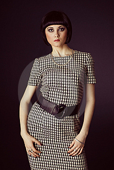 Girl In Checked Dress Stock Photography - Image: 14377612