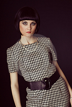 Girl In Checked Dress Stock Image - Image: 14377741