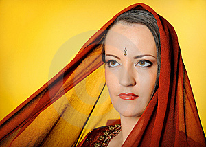 Beautiful Woman In Indian Traditional Style Stock Image - Image: 14379411