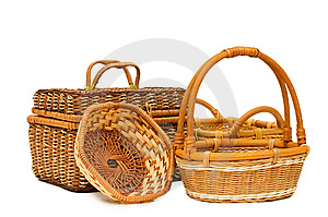Wattled Basket Isolated Over White Royalty Free Stock Images - Image: 14380199