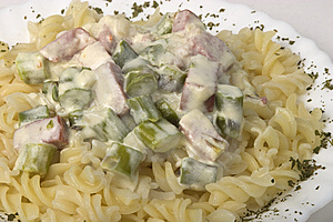 Fusilli With Ham And Asparagus In Creamy Sauce Royalty Free Stock Photography - Image: 14381817