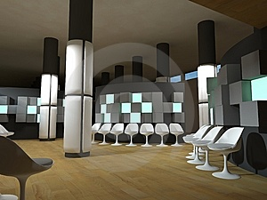 Hospital Waiting Room, Green Light Cubes Royalty Free Stock Photos - Image: 14382388
