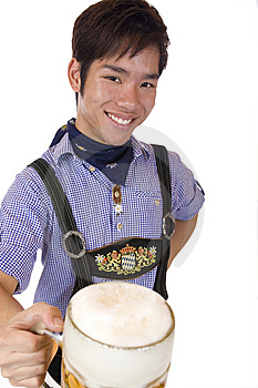 Happy Asian Man Holds Oktoberfest Beer Stein Stock Photography - Image: 14383692