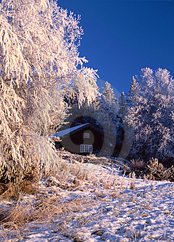 Wintry Cottage Royalty Free Stock Photos - Image: 14386878
