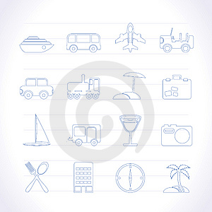 Travel, Transportation, Tourism And Holiday Icons Royalty Free Stock Photo - Image: 14389815