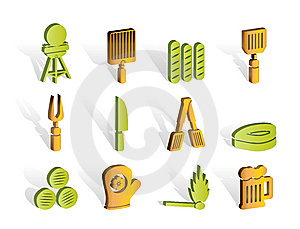 Picnic, Barbecue And Grill Icons Stock Photo - Image: 14389840