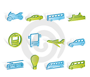 Travel And Transportation Of People Icons Royalty Free Stock Image - Image: 14389866