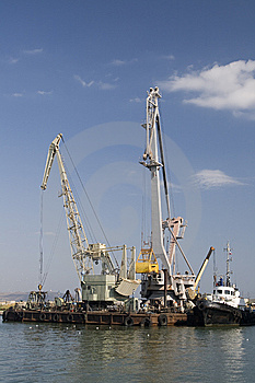 Port Cranes Royalty Free Stock Image - Image: 14392876