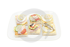 Selection Of Canapes On A Plate Stock Image - Image: 14392901