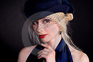 Woman In Hat With Veil Stock Photography - Image: 14395782