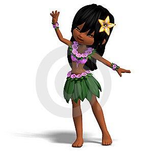 Very Cute Hawaiin Cartoon Girl Is Dancing For Stock Photo - Image: 14400130