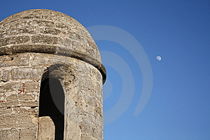 Fort Tower With Moon Stock Photos - Image: 14400473
