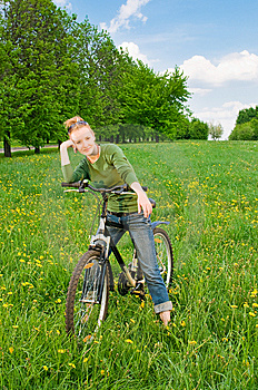 Woman With Bicycle Stock Images - Image: 14400524