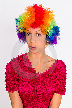 Cute Girl Dressed In Clown Wig Royalty Free Stock Image - Image: 14401376