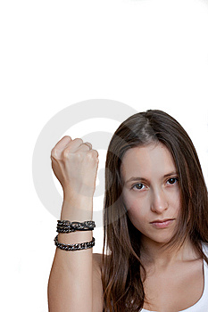 Female Shakes Fist At Someone Royalty Free Stock Photos - Image: 14401498