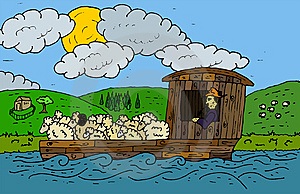 Flatboat With Livestock Stock Photography - Image: 14401772