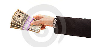 Woman Handing Over Hundreds Of Dollars Stock Image - Image: 14403561