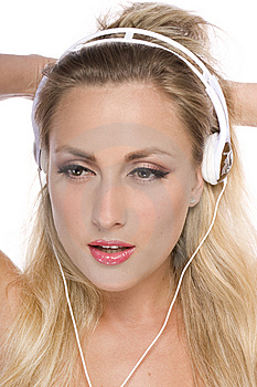 Pretty Model With White Headphone Royalty Free Stock Photo - Image: 14403605