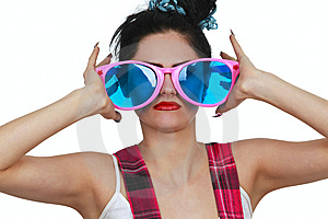 Girl Wearing Large Pink Eyeglasses Royalty Free Stock Images - Image: 14404979