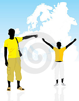 Two Masculine Silhouettes On A Background The Map Royalty Free Stock Images - Image: 14408239