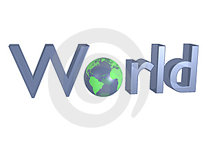 World Sign With Earth Like Globe Royalty Free Stock Photos - Image: 14410828