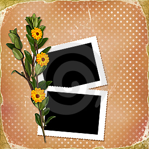 Card With Bouquet On Old Grunge Background Royalty Free Stock Images - Image: 14411259