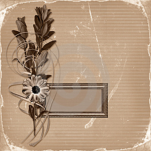 Frame With Bouquet On Old Grunge Background Stock Image - Image: 14411461