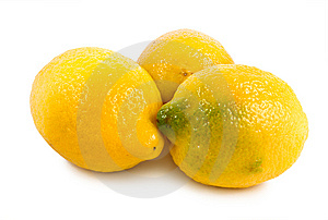 Three Lemons Isolated On A White Stock Images - Image: 14411994