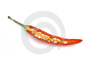 Cut Birds Eye Chilli Over White Royalty Free Stock Photo - Image: 14412205