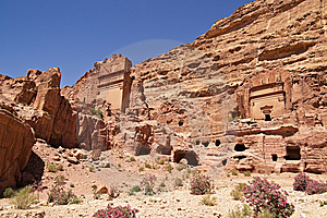 Wide View Of Large Cliff Side Tomb. Stock Photos - Image: 14415723