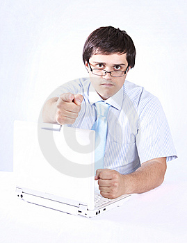 Young Boss With White Laptop. Stock Photos - Image: 14416023
