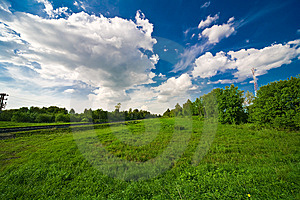 Blue Sky With Clouds And Field Royalty Free Stock Images - Image: 14416029