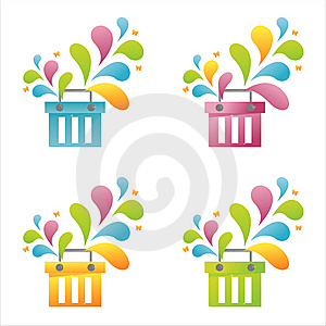 Set Of 4 Baskets Royalty Free Stock Image - Image: 14418586
