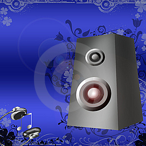 Speakers And Headphones On Blue Background With F Stock Image - Image: 14420841