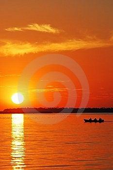 Sunset And Boat Stock Photo - Image: 14421420